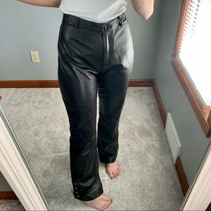 St. John Collection Leather Wide Leg Pants